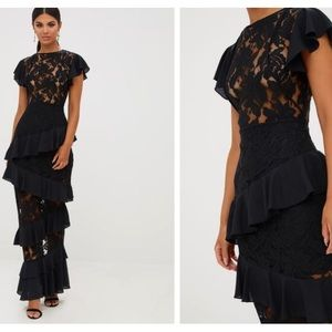 Black Lace Ruffle Maxi Elegant Dress